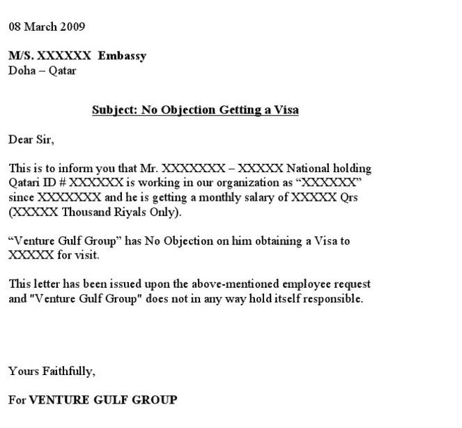 How to obtain a free no objection letter template for visa it is actually a fairly simple job to get done you can also take a look at the sample no objection letters shown below for your reference spiritdancerdesigns Images