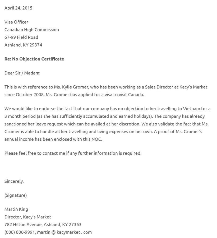 It Is Actually A Fairly Simple Job To Get Done! You Can Also Take A Look At  The Sample No Objection Letters Shown Below For Your Reference.  No Objection Certificate From Employer Sample