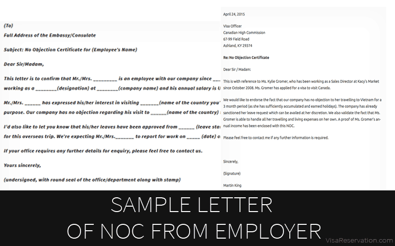 Noc Sample Letter From Employer Sample Letter Of No Objection Certificate From Employer  Visa .