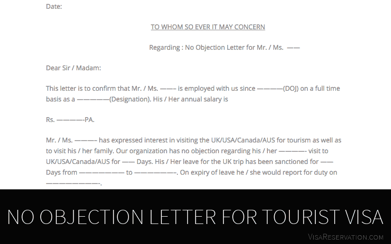 Ultimate Guide To No Objection Letter For Tourist Visa - Visa