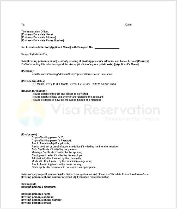 invitation letter visitor uk itinerary example