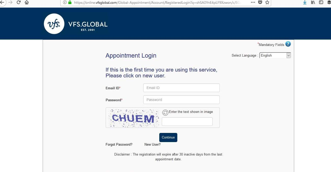 France Schengen Visa Chicago Consulate VFS Login