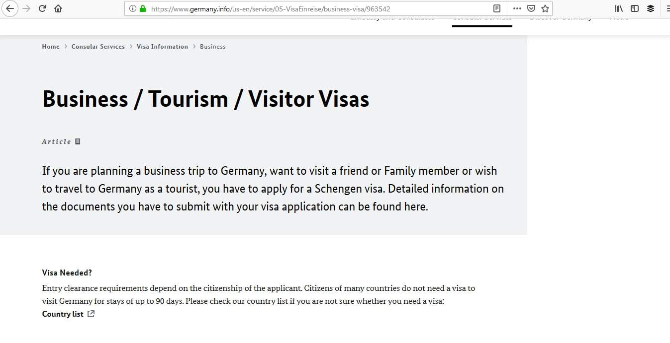 Germany Schengen Visa Atlanta Consulate Visa Category