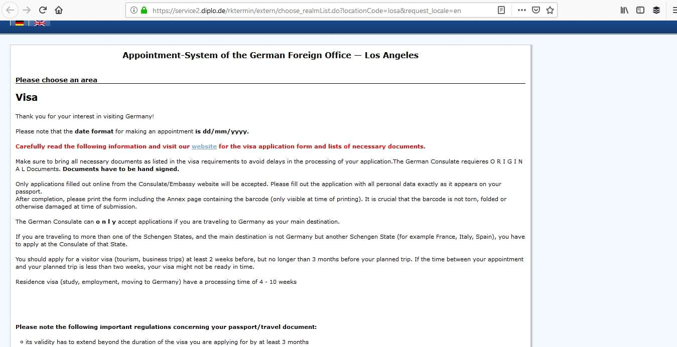 Germany Schengen Visa Los Angeles Consulate Appointment1