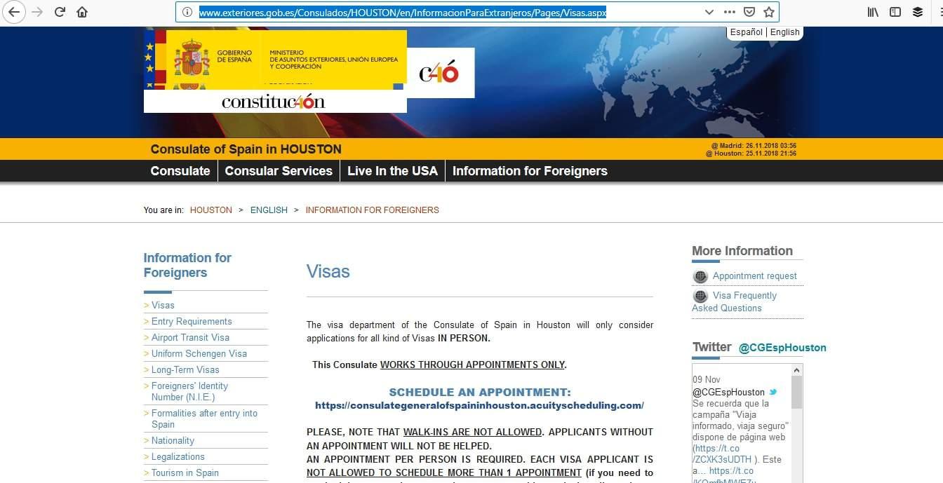 Spain Schengen Visa Houston Consulate Appointment