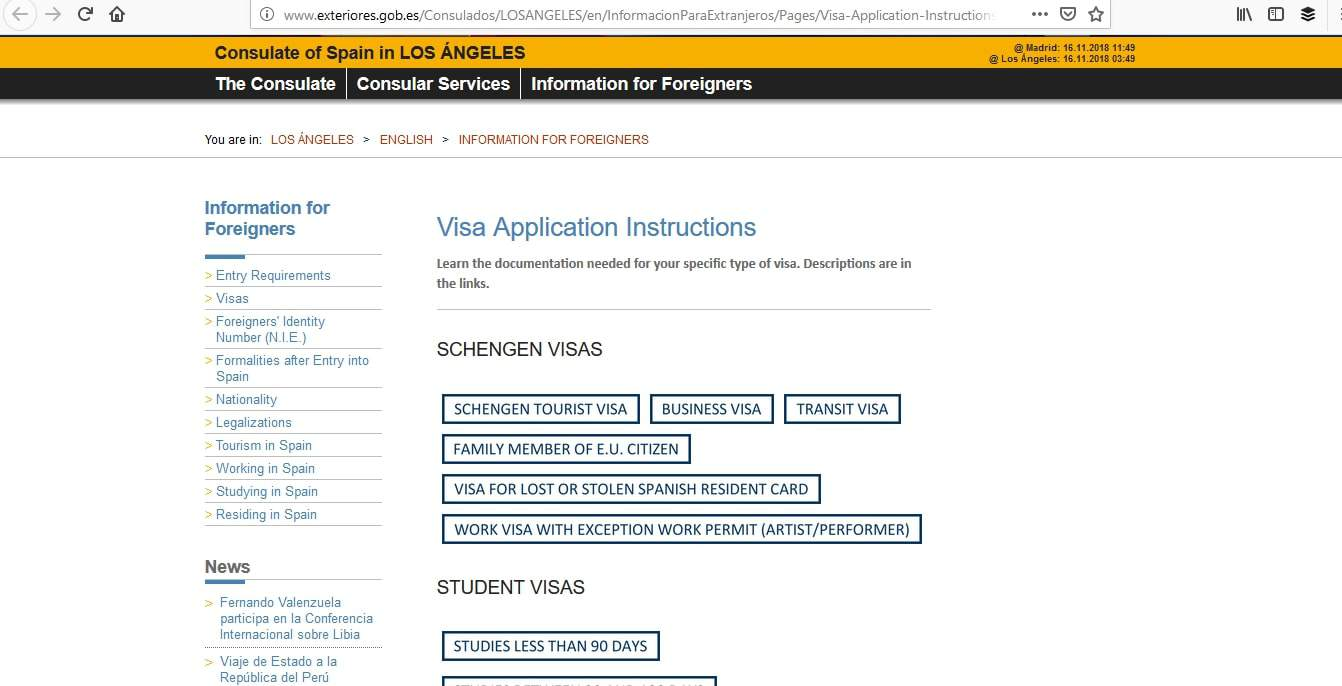Spain Schengen Visa Los Angeles Consulate Visas