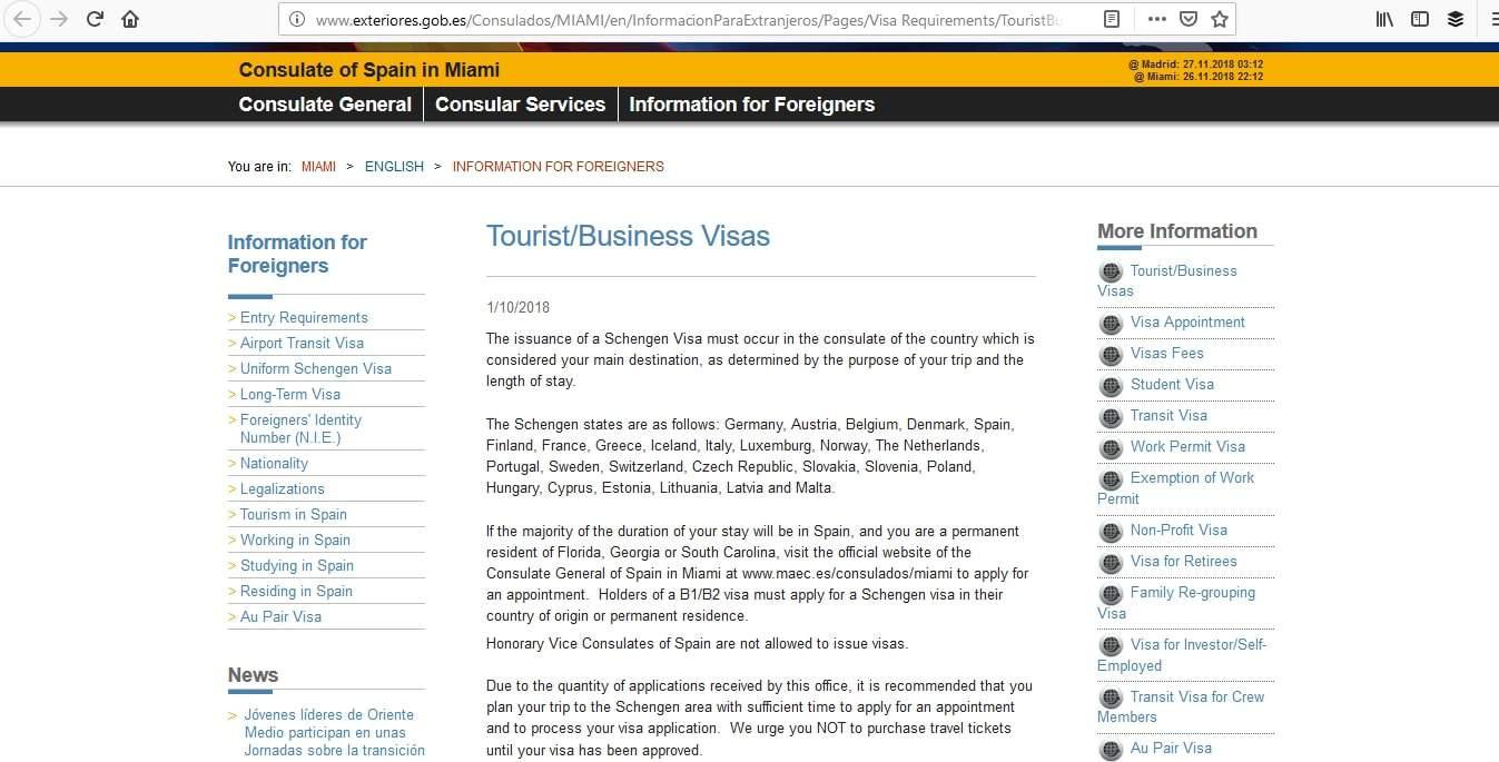 Spain Schengen Visa Miami Consulate Visa Types