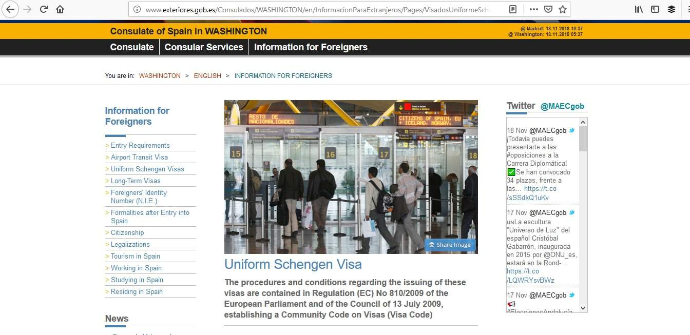 Spain Schengen Visa Washington DC Consulate Application Process