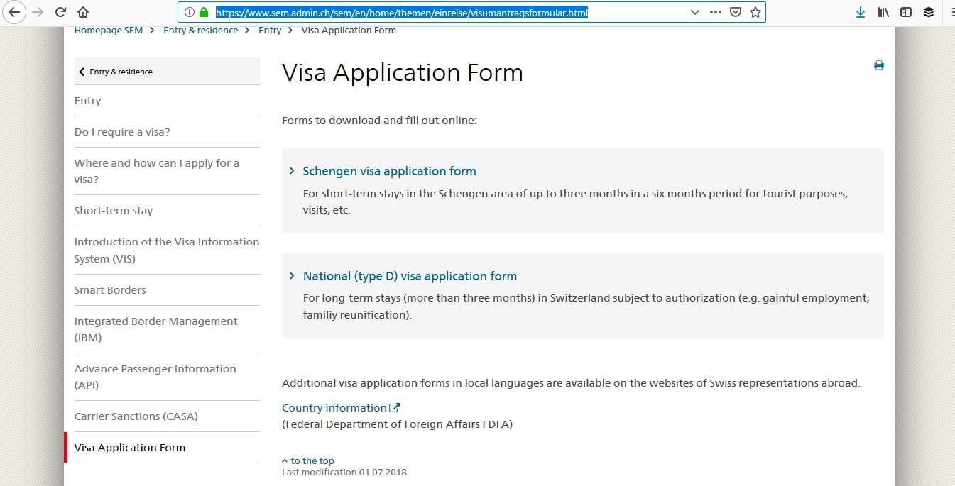 Switzerland Schengen Visa San Francisco Consulate Application Form