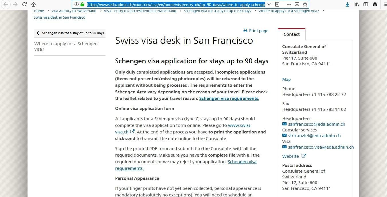 Switzerland Schengen Visa San Francisco Consulate Application Process