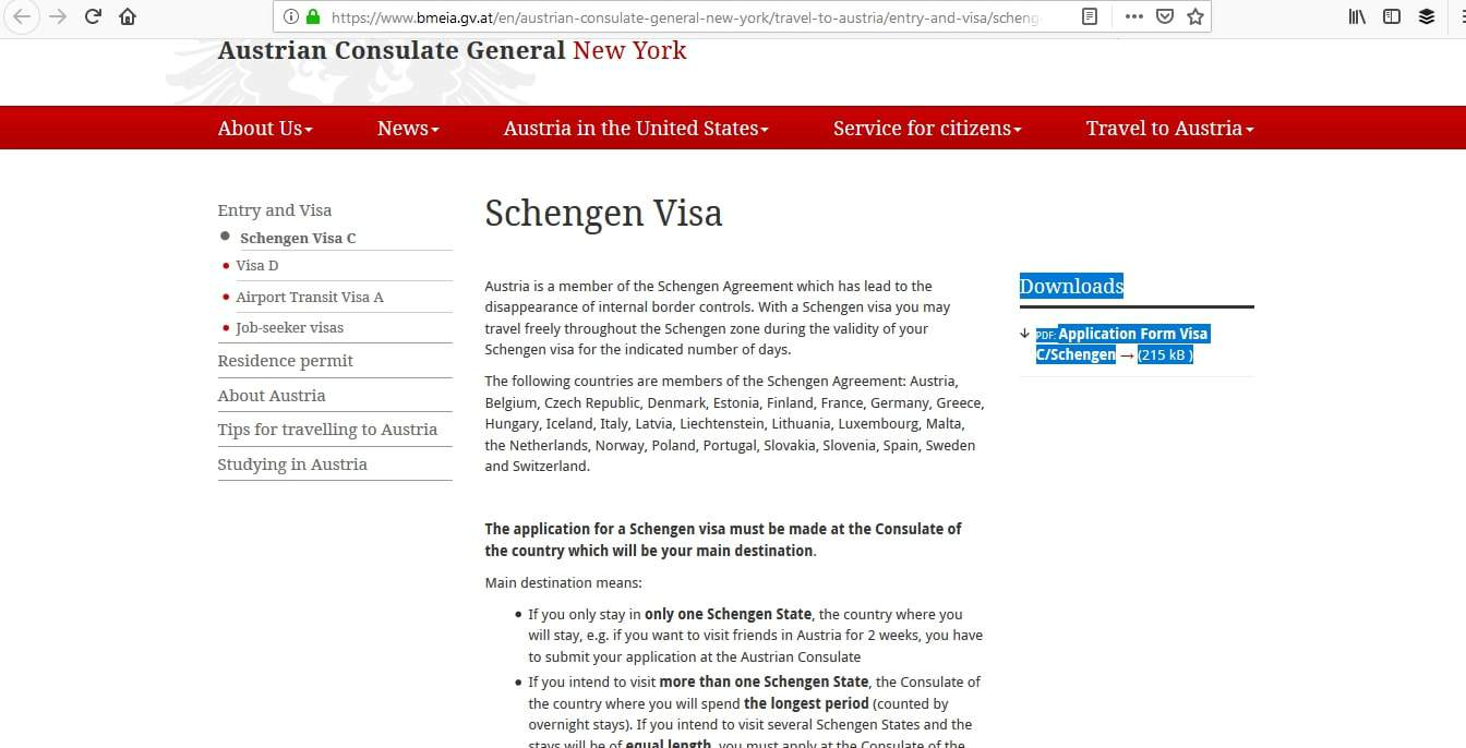 Austria Schengen Visa New York Consulate Application Form