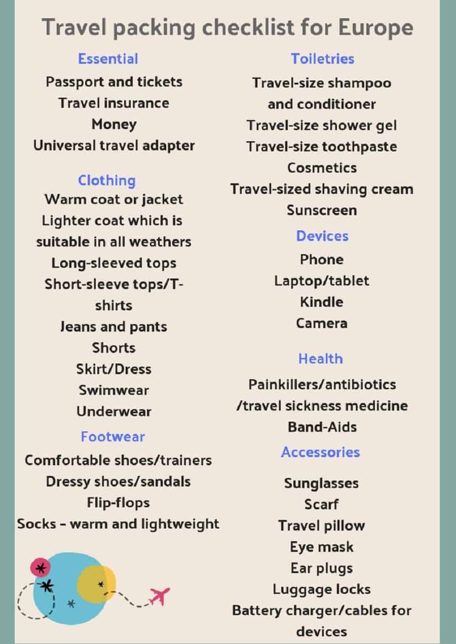 Europe Travel Packing Checklist - Ultimate Guide