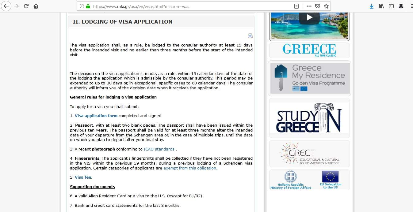 Greece Schengen Visa Washington DC Embassy Application Requirements1