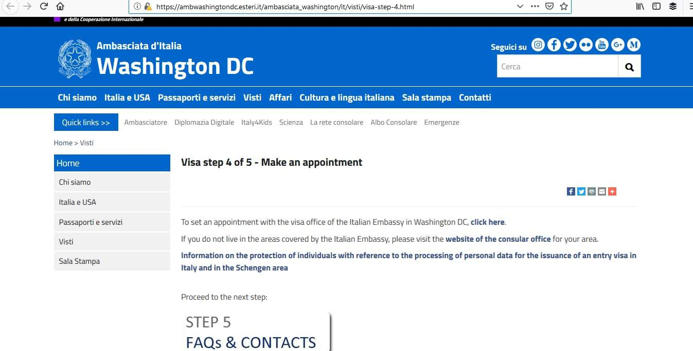 Italy Schengen Visa Washington DC Consulate Appointment