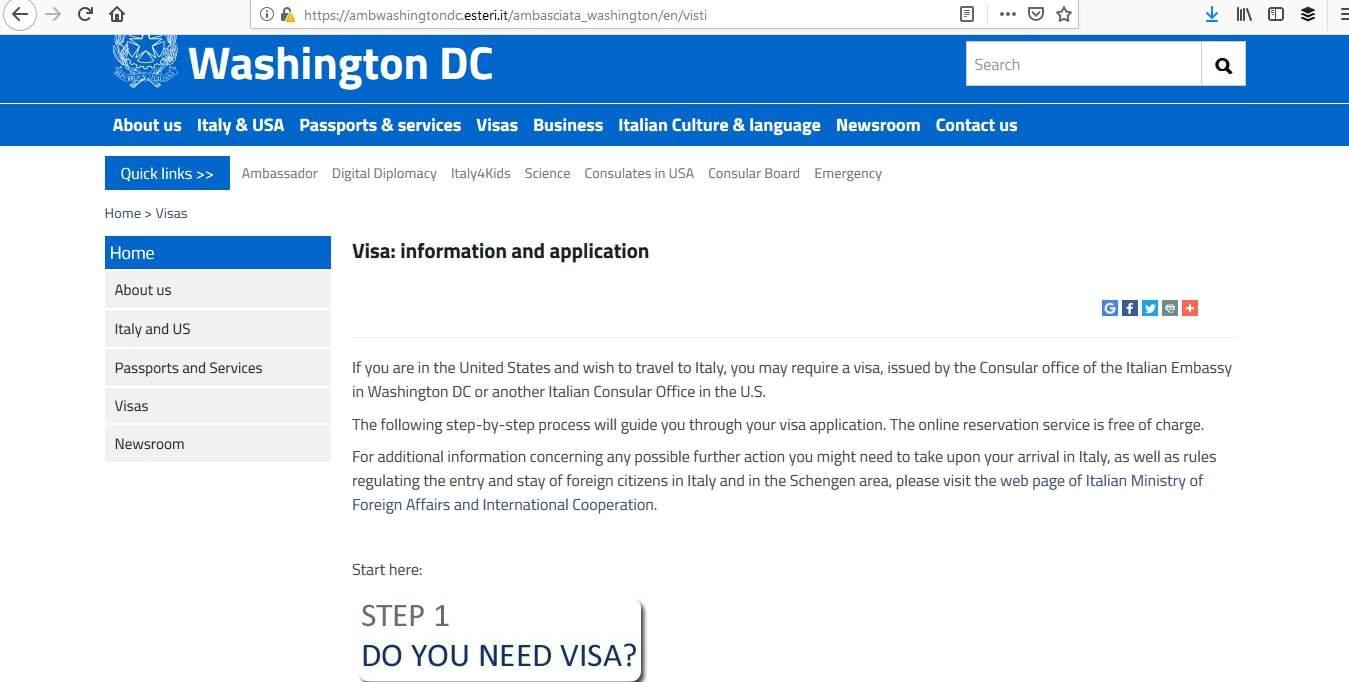 Italy Schengen Visa Washington DC Consulate Visa Eligibility