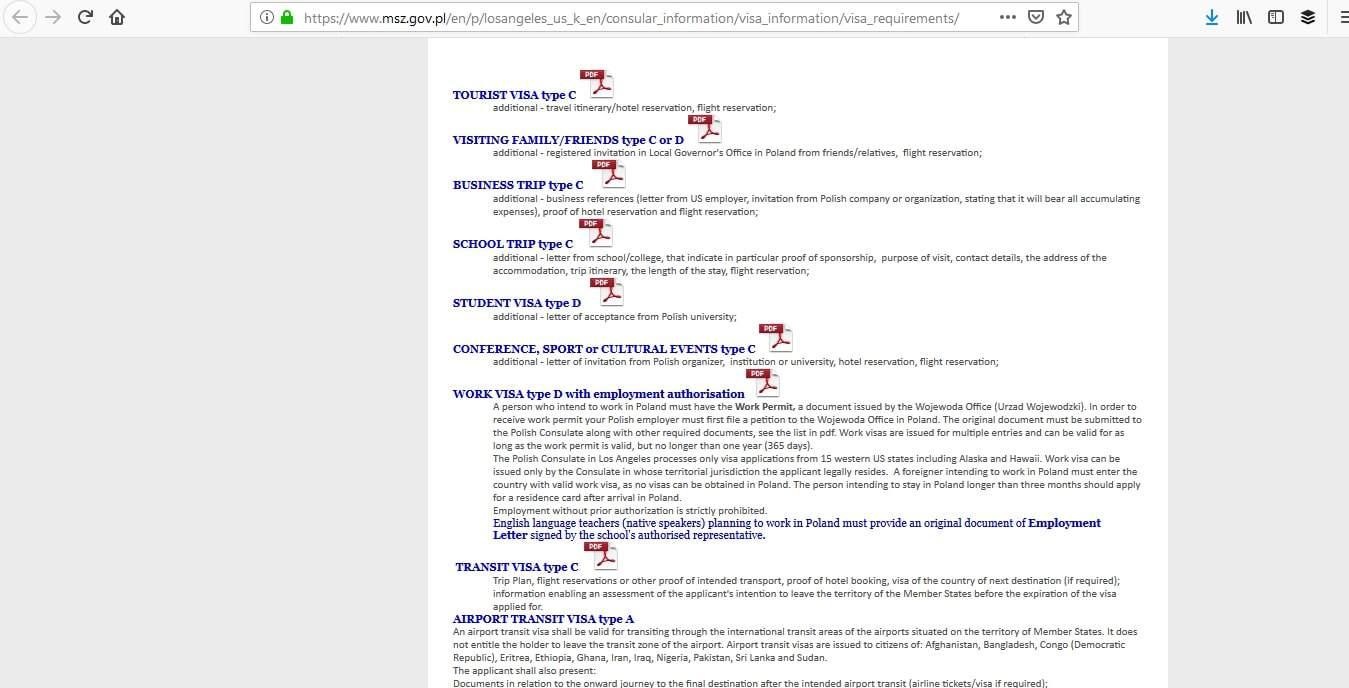 Poland Schengen Visa Los Angeles Consulate Application Requirements