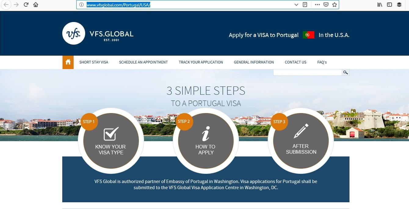 Portugal Schengen Visa Washington DC Embassy Online Application