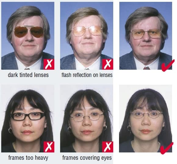 Schengen Visa Photo Requirements France - Wearing Glasses
