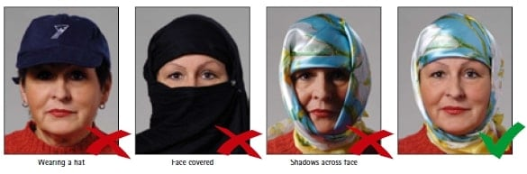Schengen Visa Photo Requirements Germany - Wearing Hats