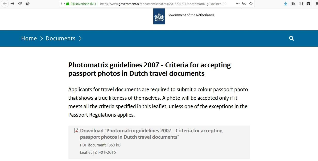 Schengen Visa Photo Requirements Netherlands - Samples