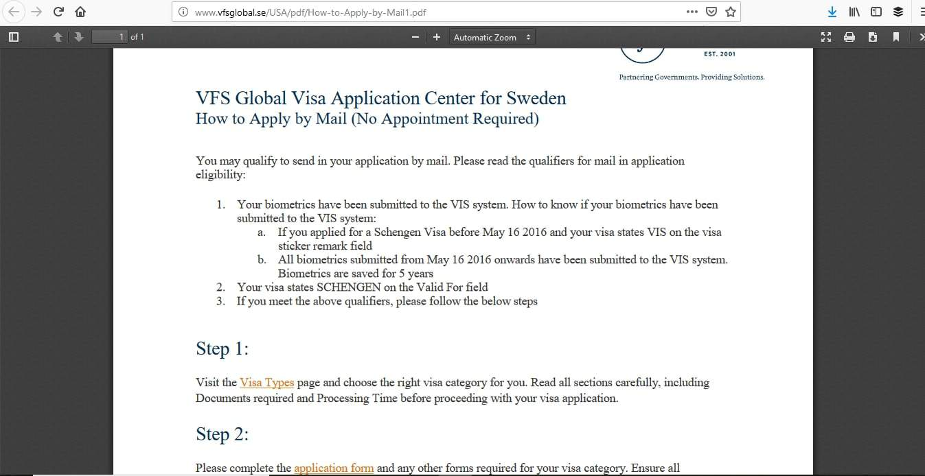 Sweden Schengen Visa Washington DC Consulate Application Process3