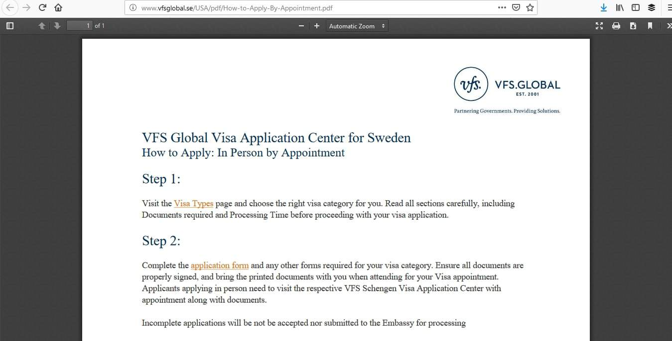 Sweden Schengen Visa Washington DC Consulate Application Process4