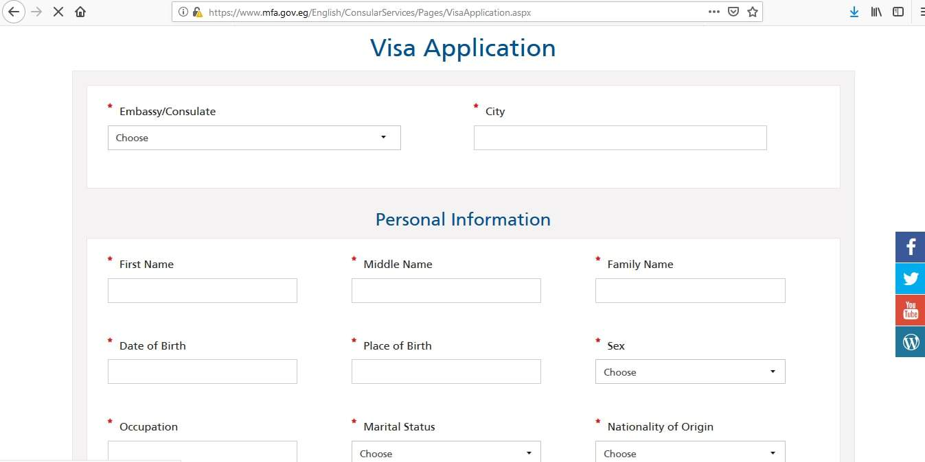 Egypt Visa Application Form1