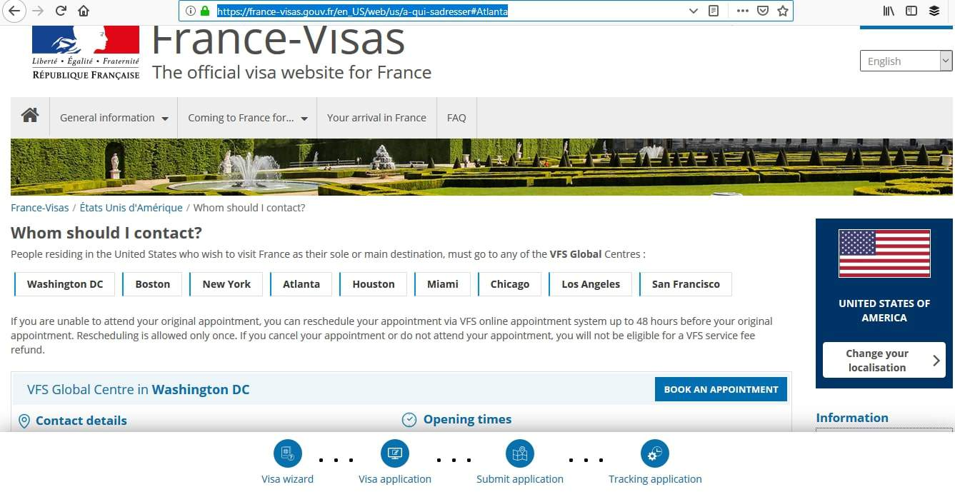 France Schengen Visa Atlanta Consulate VFS Global Center
