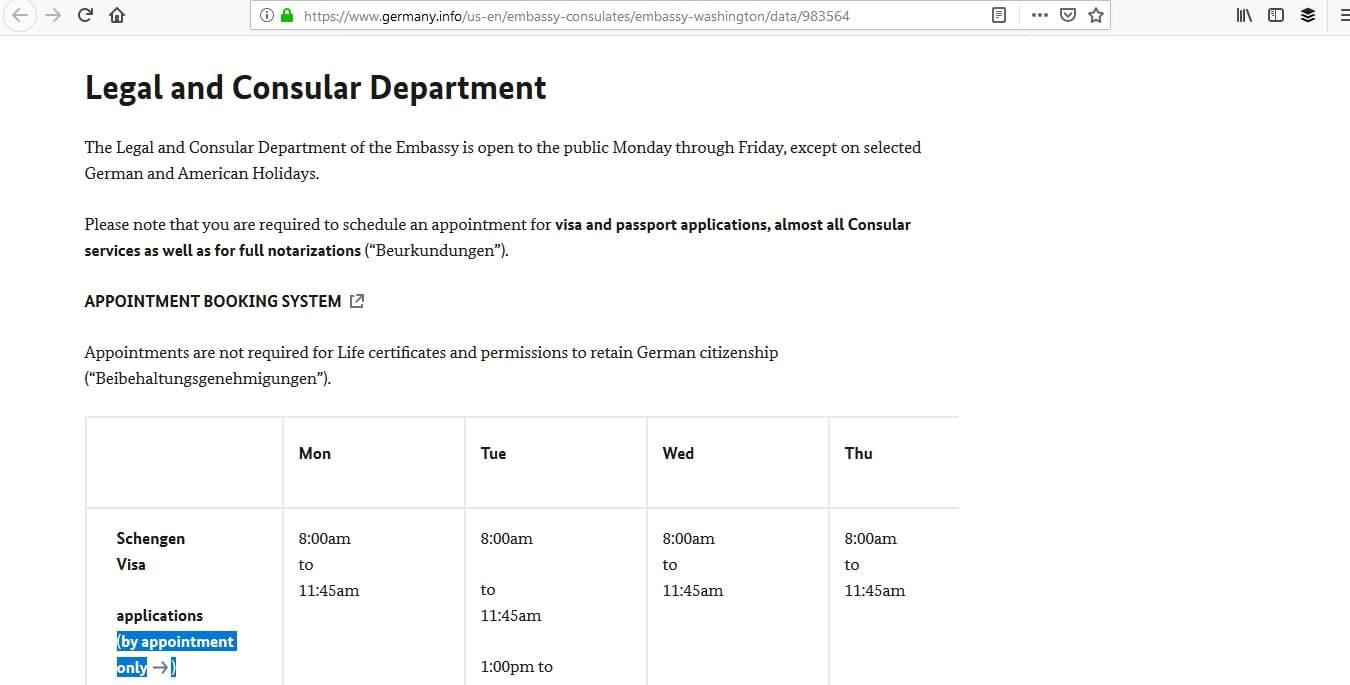 Germany Schengen Visa Washington DC Embassy Appointment1