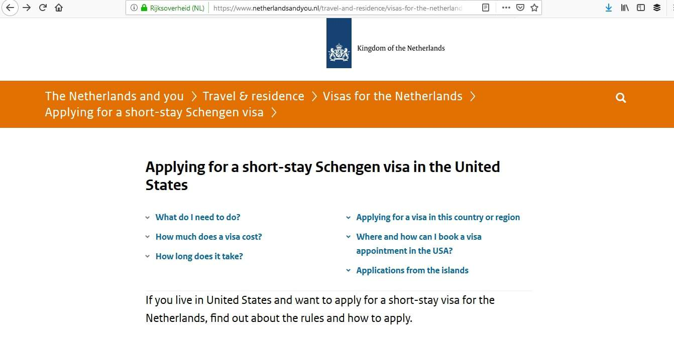 Netherlands Schengen Visa Washington DC Embassy Application Process