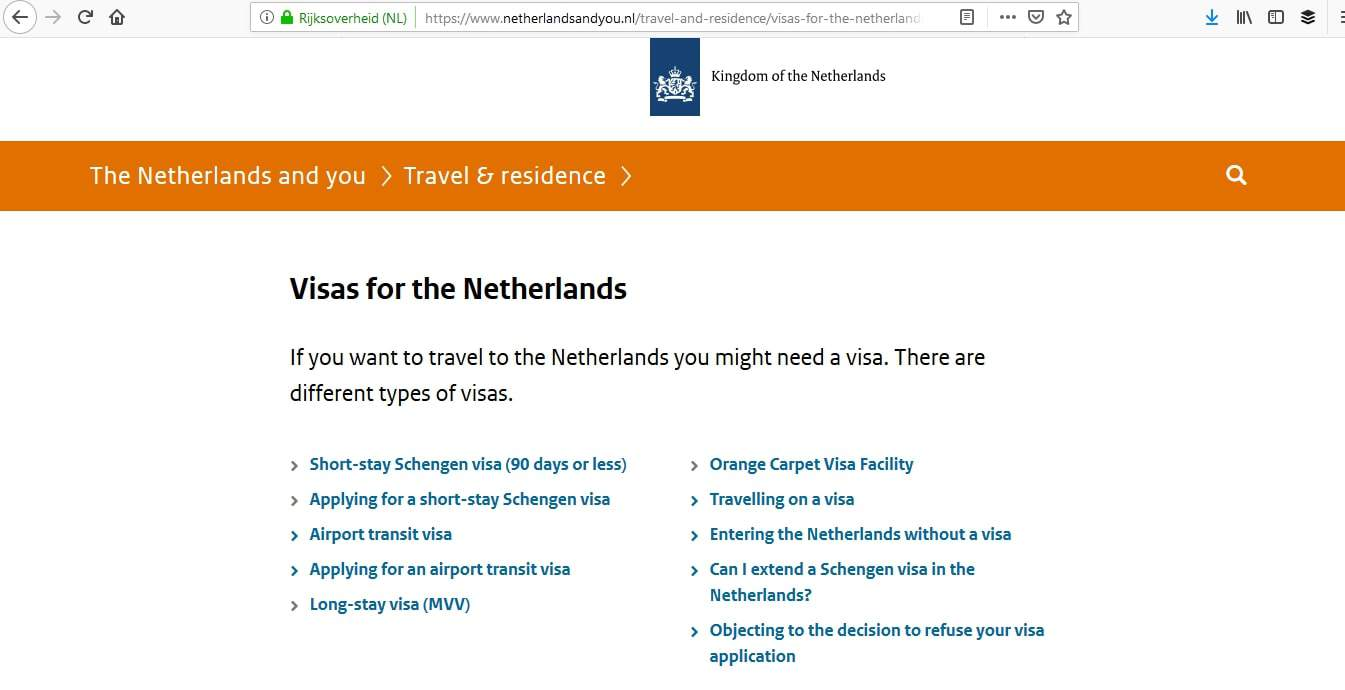 Netherlands Schengen Visa Washington DC Embassy Visa Types