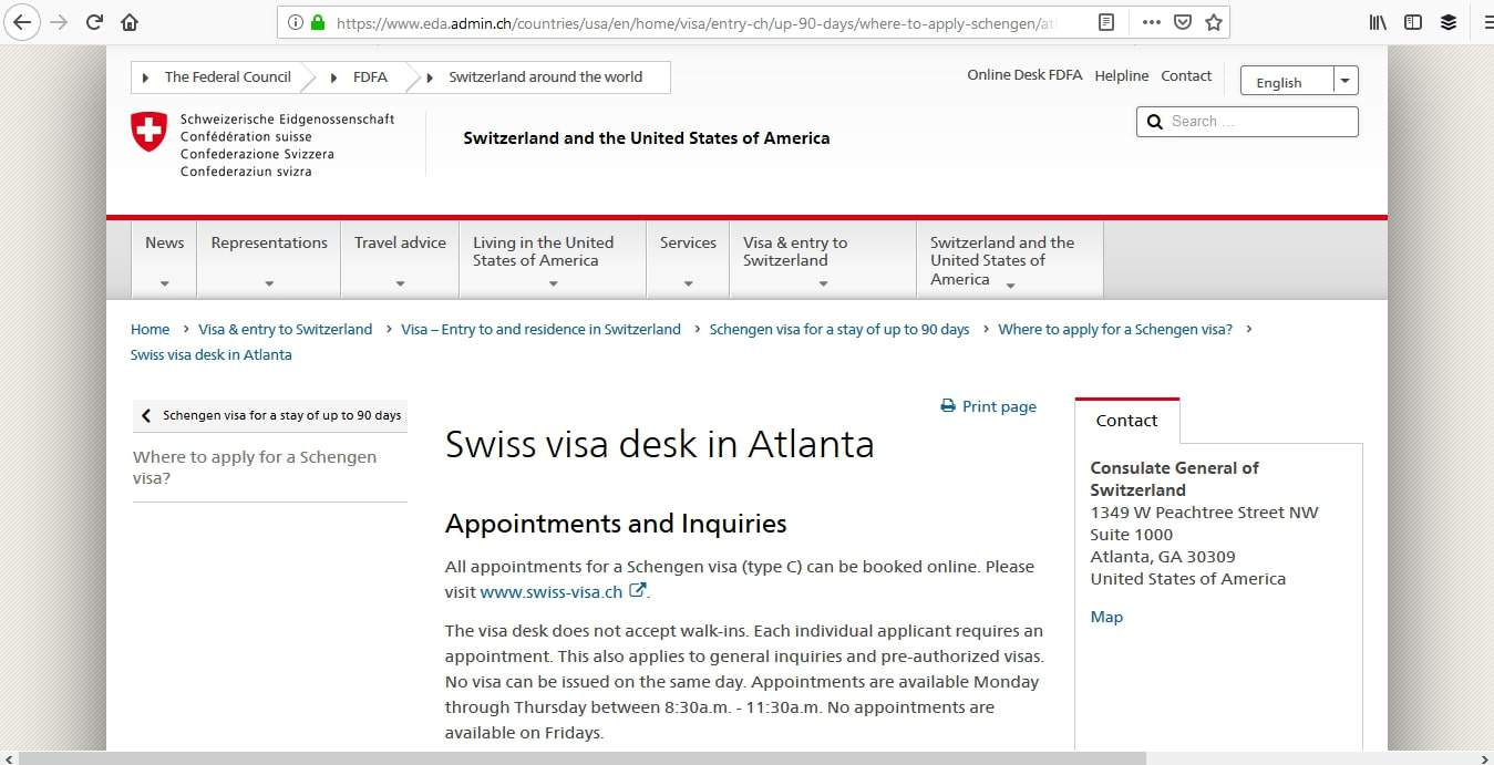 Switzerland Schengen Visa Atlanta Consulate Application Process