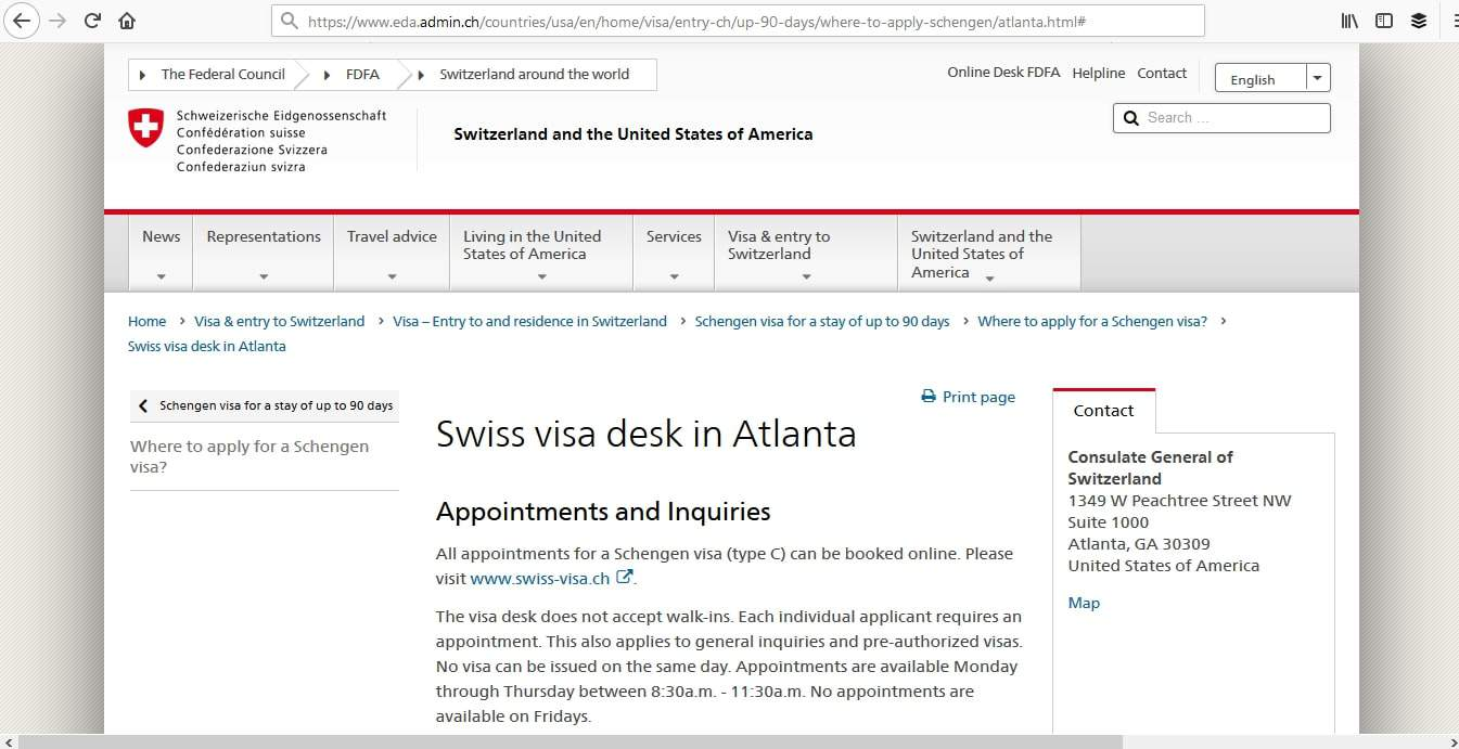 Switzerland Schengen Visa Atlanta Consulate Appointment