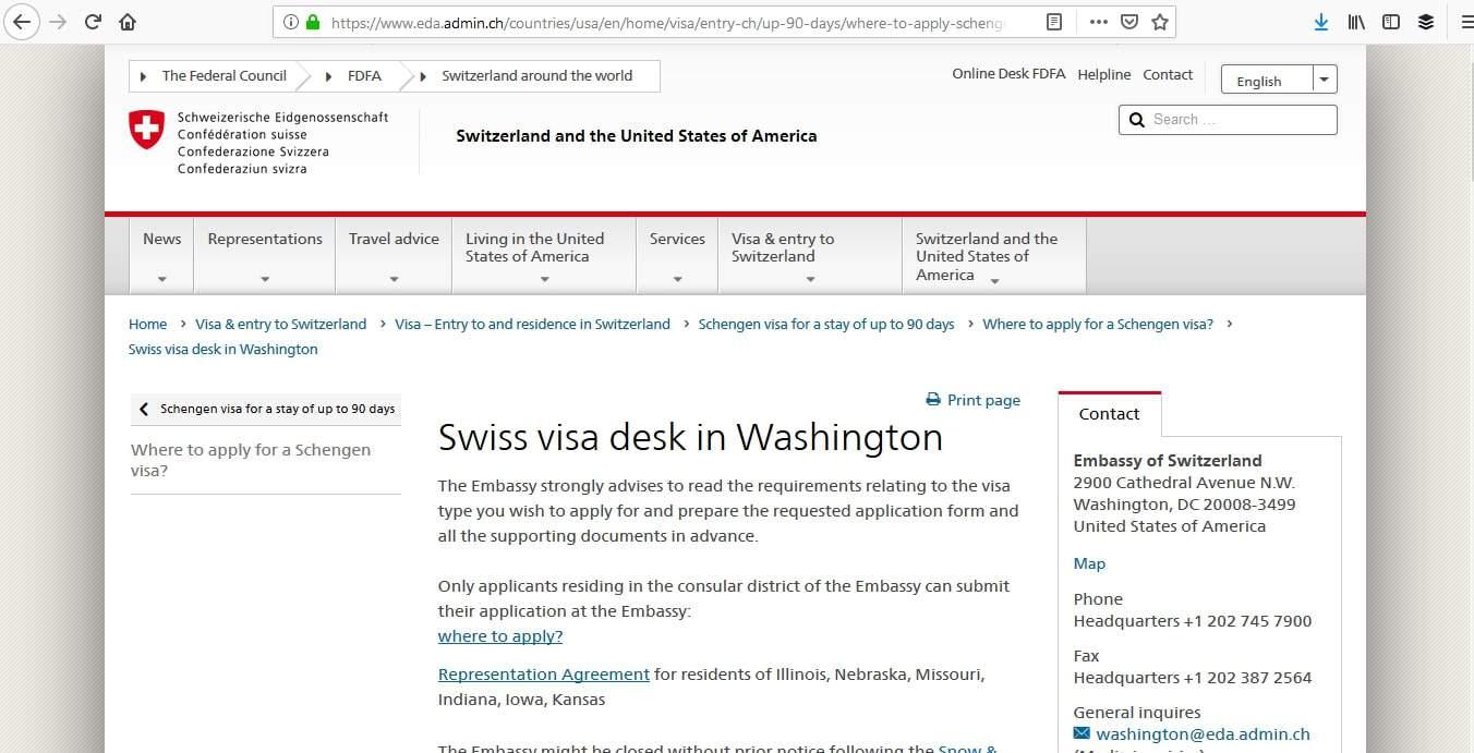 Switzerland Schengen Visa Washington DC Embassy Application Process