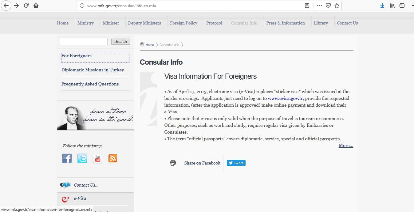 Turkish Visa Consular Information