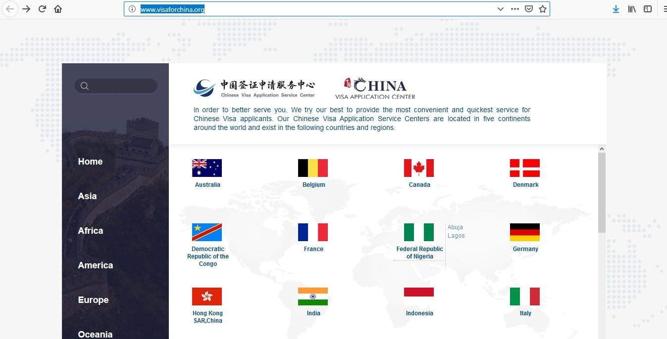 Visa For China Application center