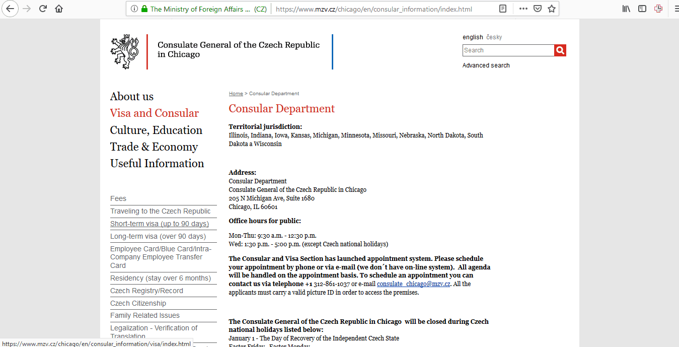Czech Republic Schengen Visa Chicago Consulate Application Form1