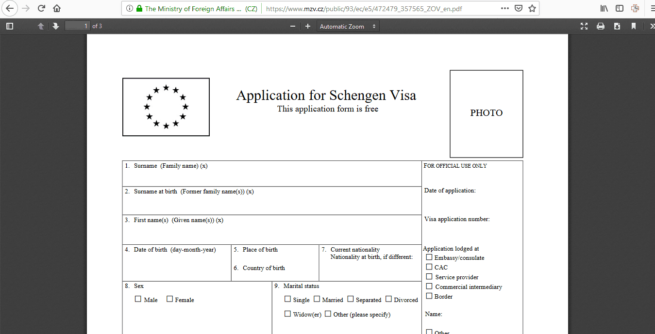 Czech Republic Schengen Visa Chicago Consulate Application Form4