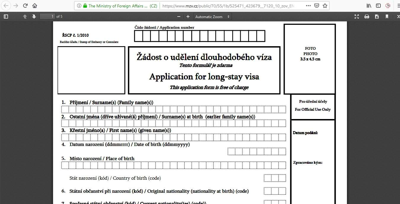 Czech Republic Schengen Visa Chicago Consulate Application Form6