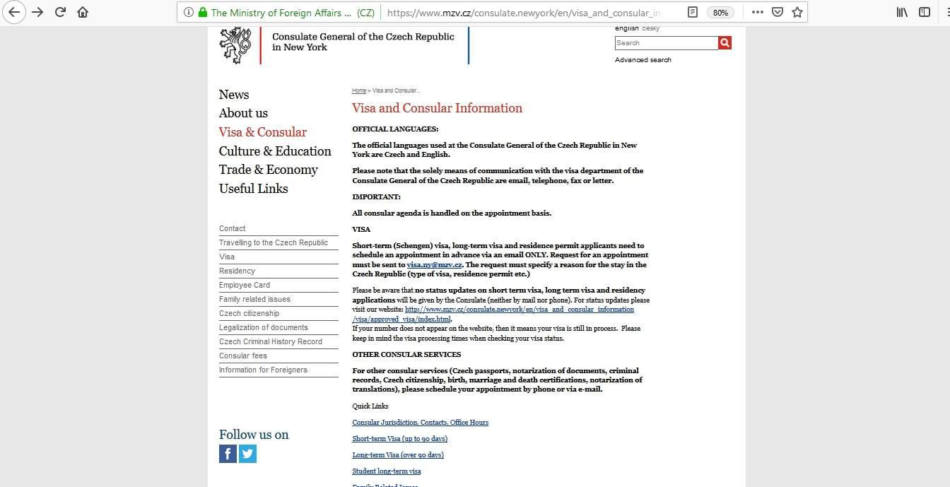 Czech Republic Schengen Visa NYC New York Consulate Application Form