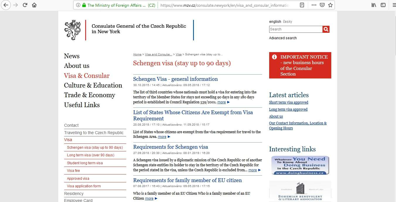 Czech Republic Schengen Visa NYC New York Consulate Application Form1