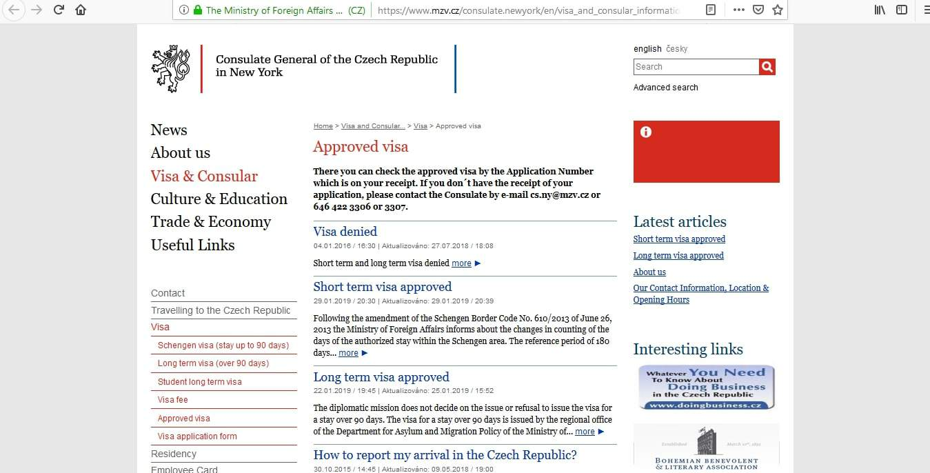 Czech Republic Schengen Visa NYC New York Consulate Visa Tracker