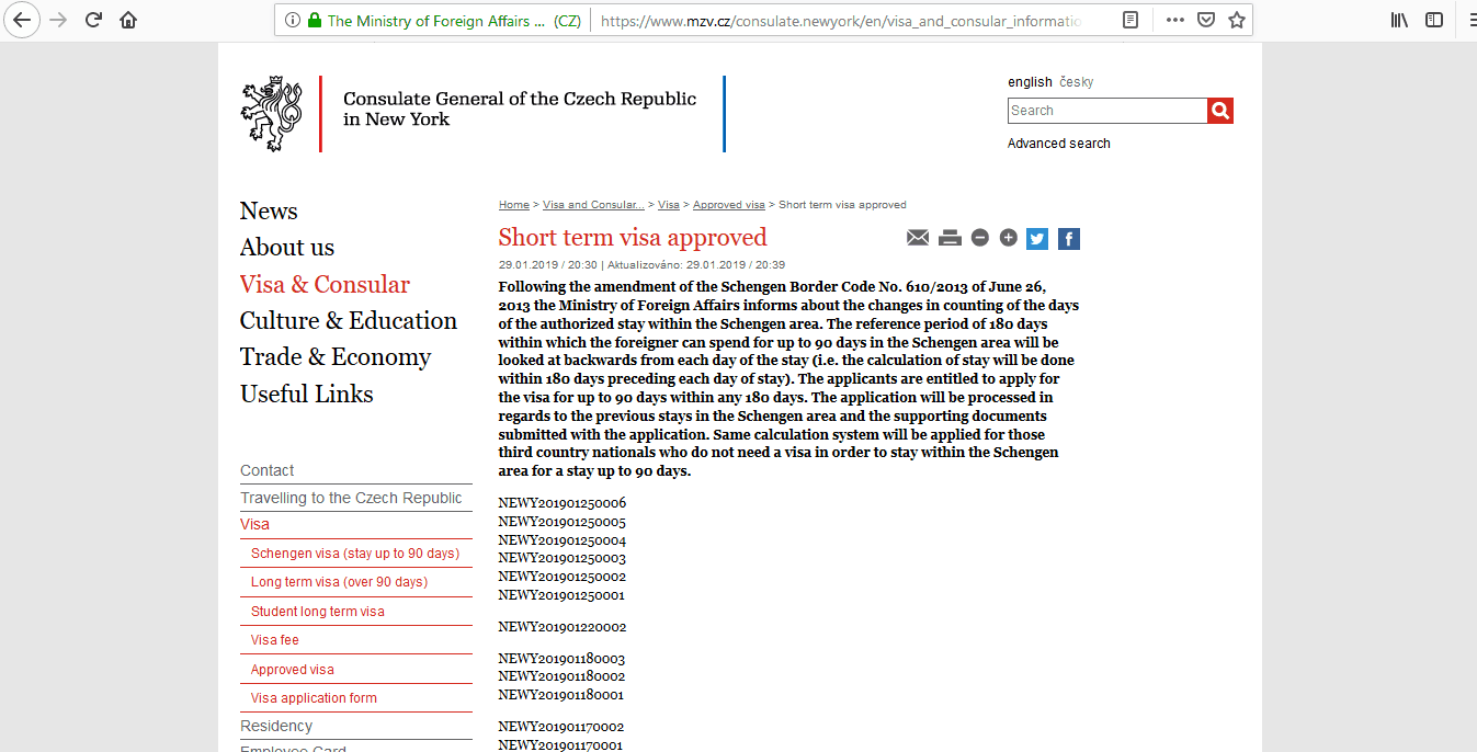 Czech Republic Schengen Visa NYC New York Consulate Visa Tracker1