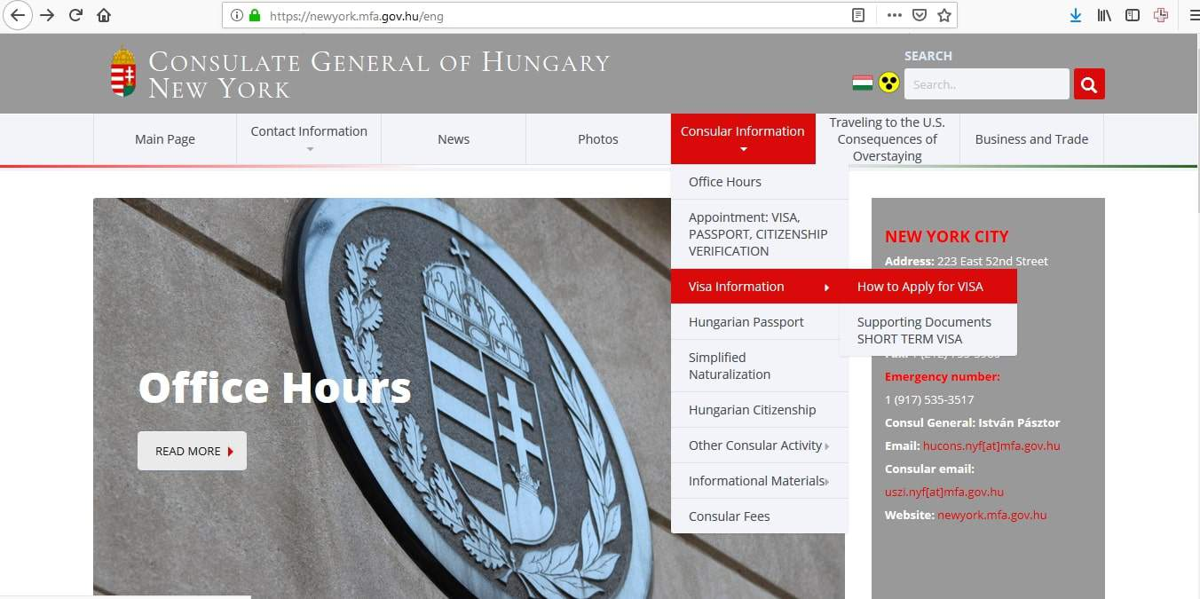 Hungary Schengen Visa NYC New York Consulate Application Form