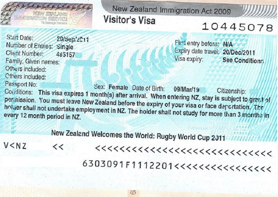 New Zealand Visa Sample
