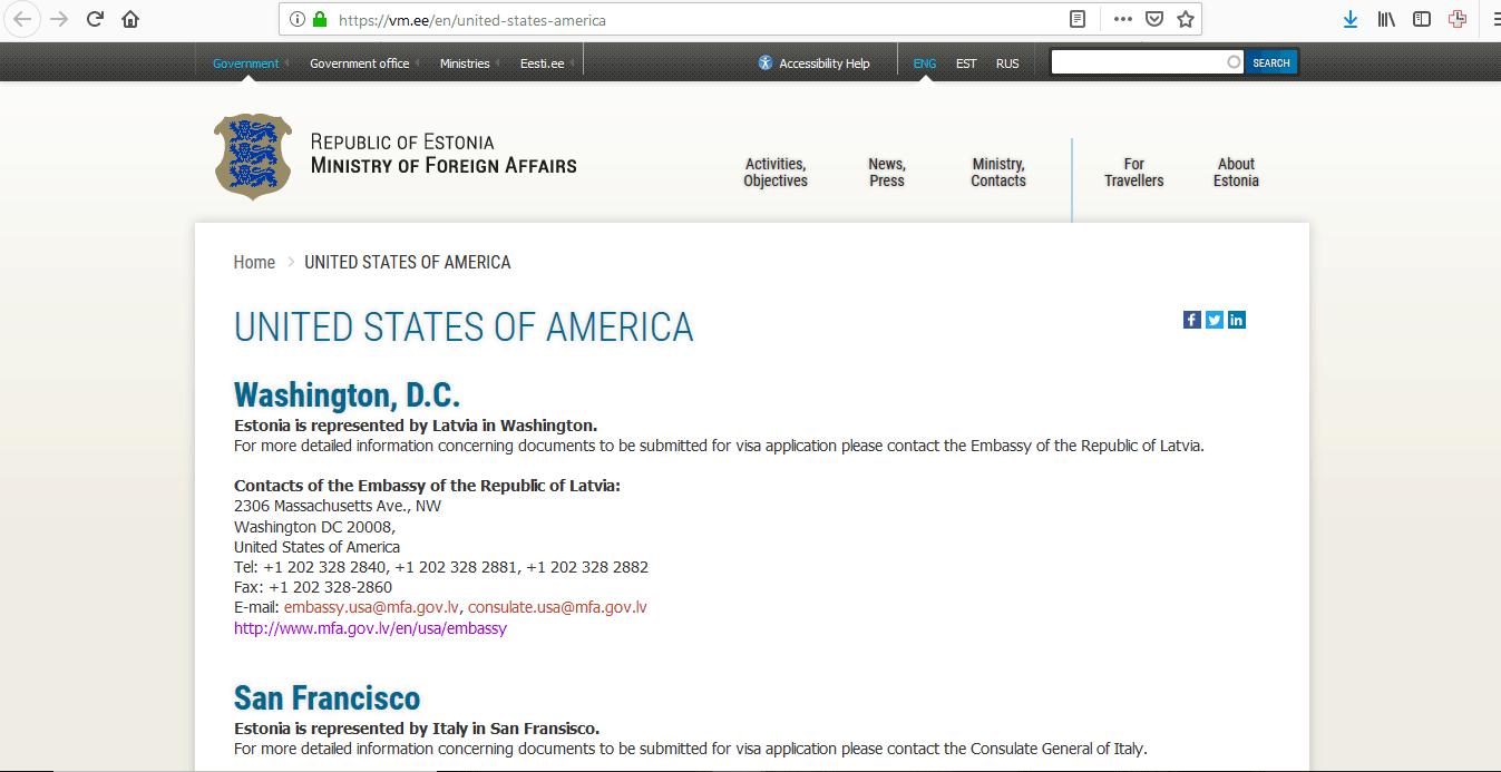 Estonia Schengen Visa Washington DC Embassy Jurisdictions