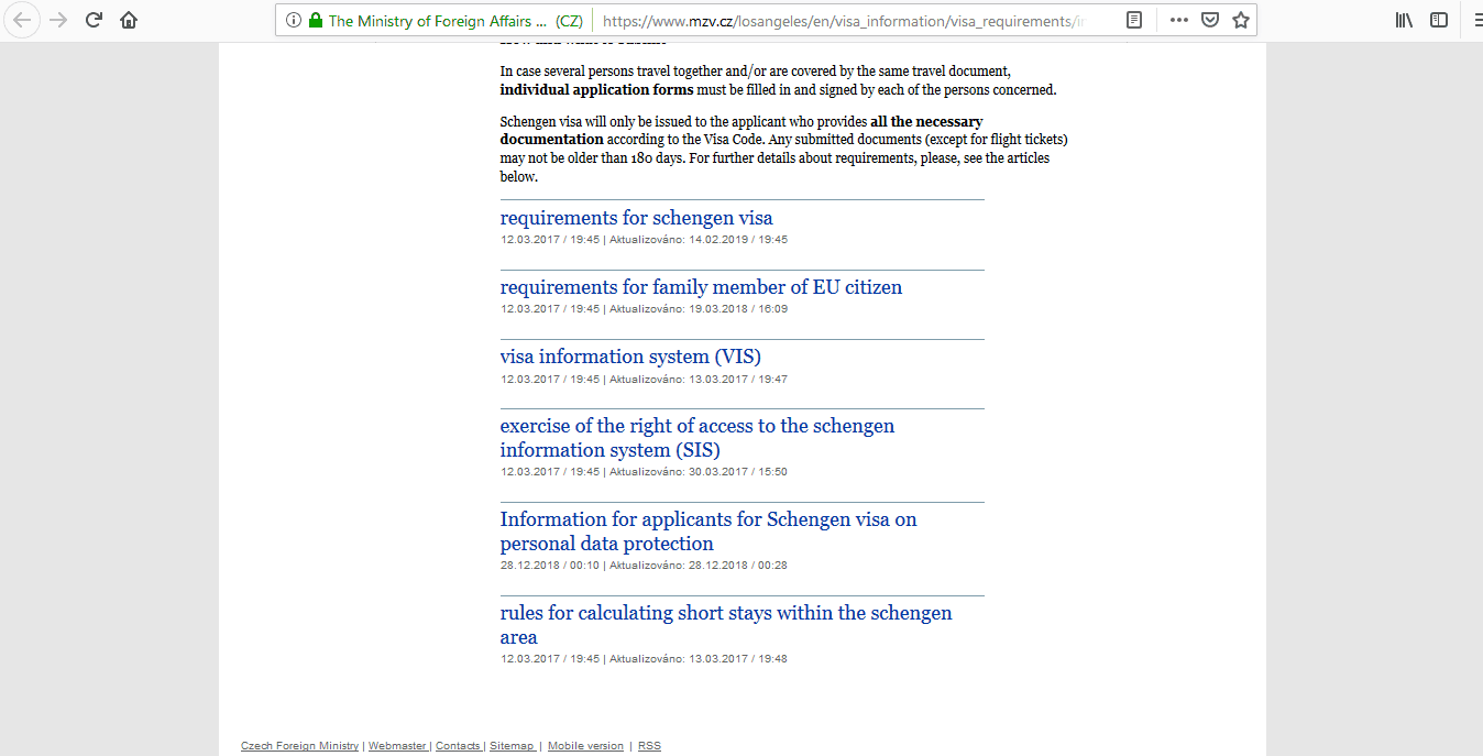 Czech Republic Schengen Visa Los Angeles Consulate Application Form2