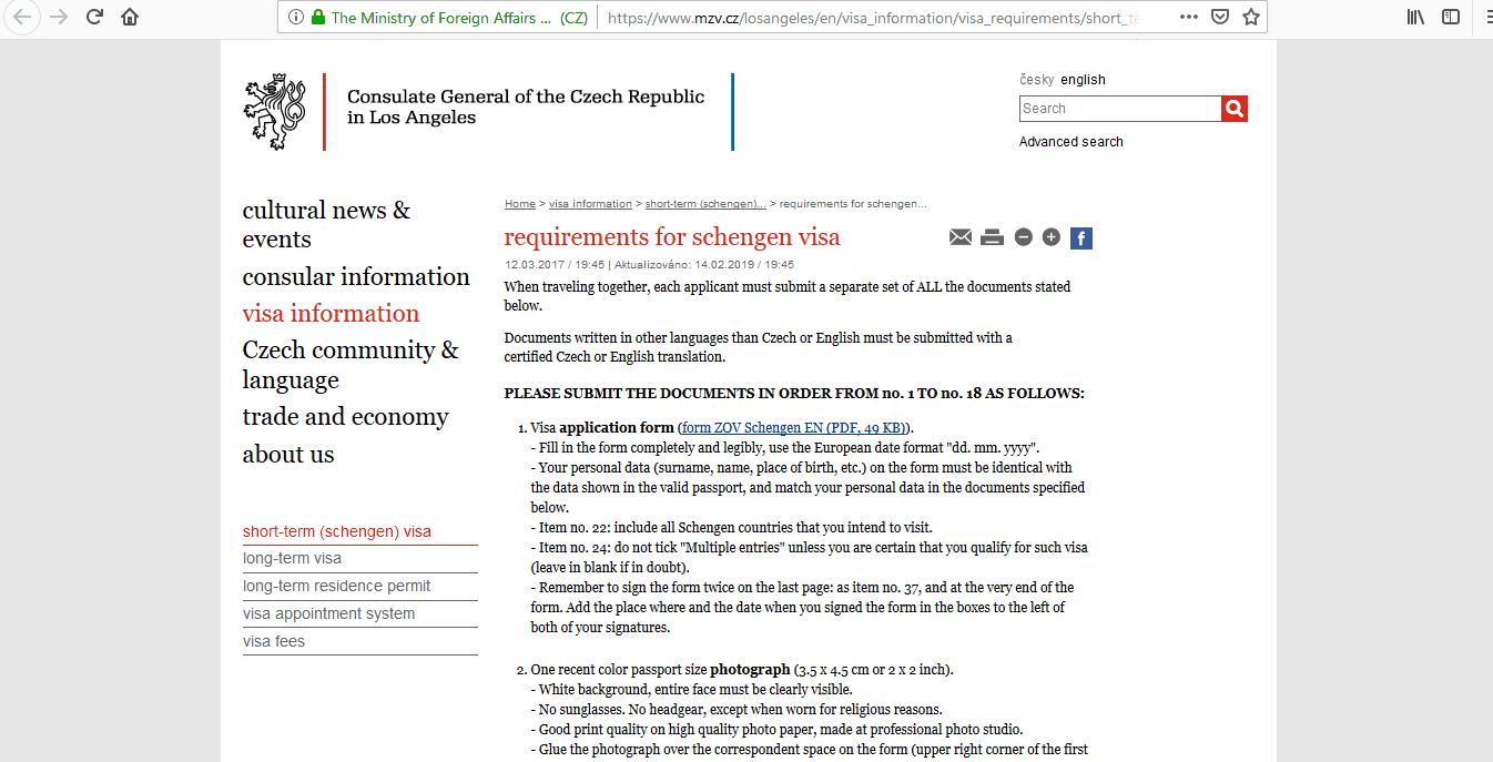 Czech Republic Schengen Visa Los Angeles Consulate Application Form4