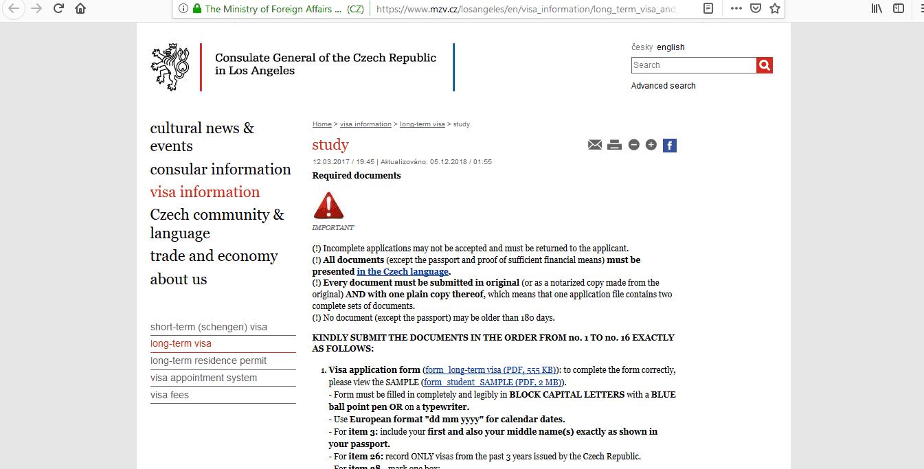 Czech Republic Schengen Visa Los Angeles Consulate Application Form5
