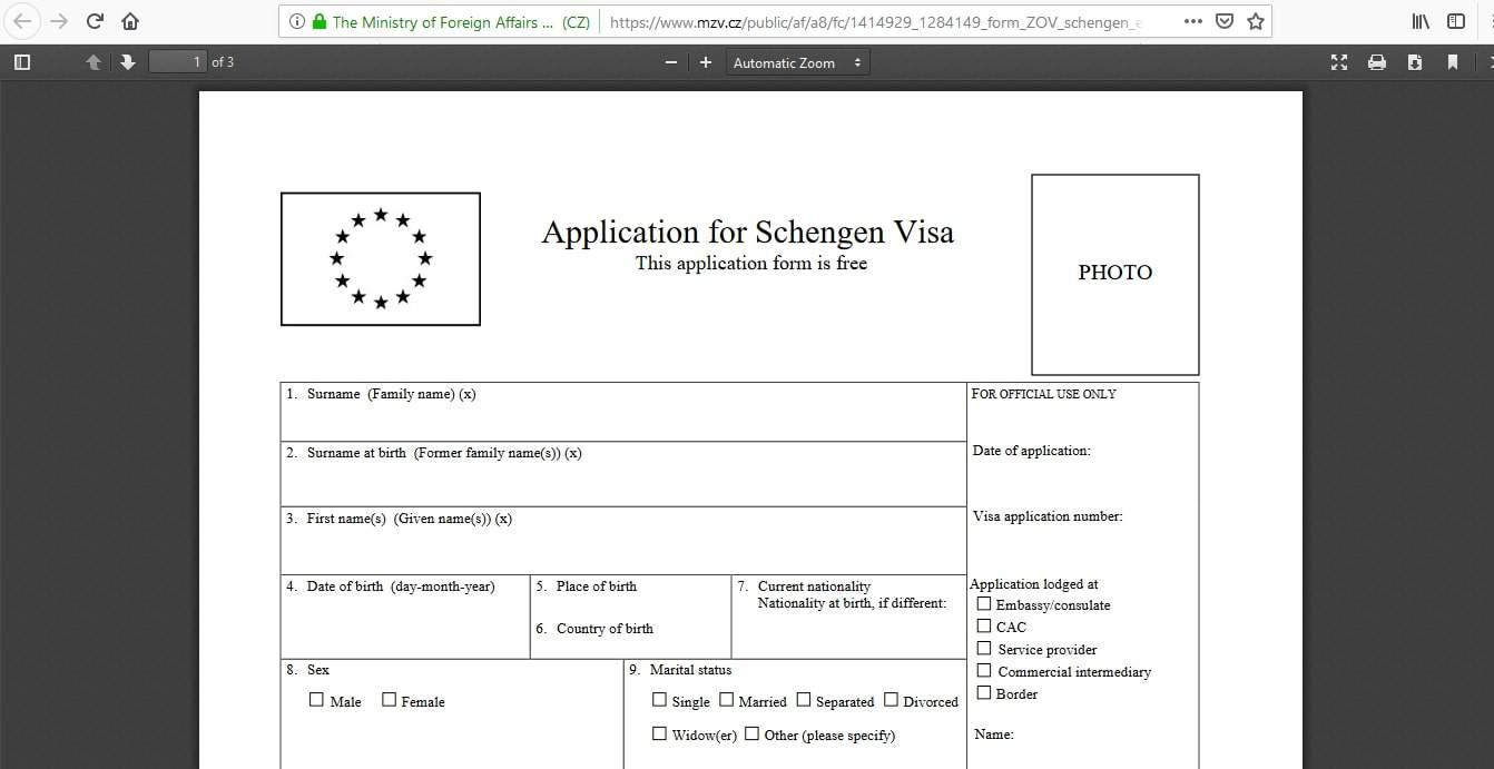 Czech Republic Schengen Visa Los Angeles Consulate Application Form6